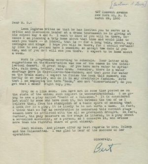 Bertram Lewis Letter