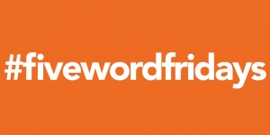 white text that reads #fivewordfridays on a bright orange background