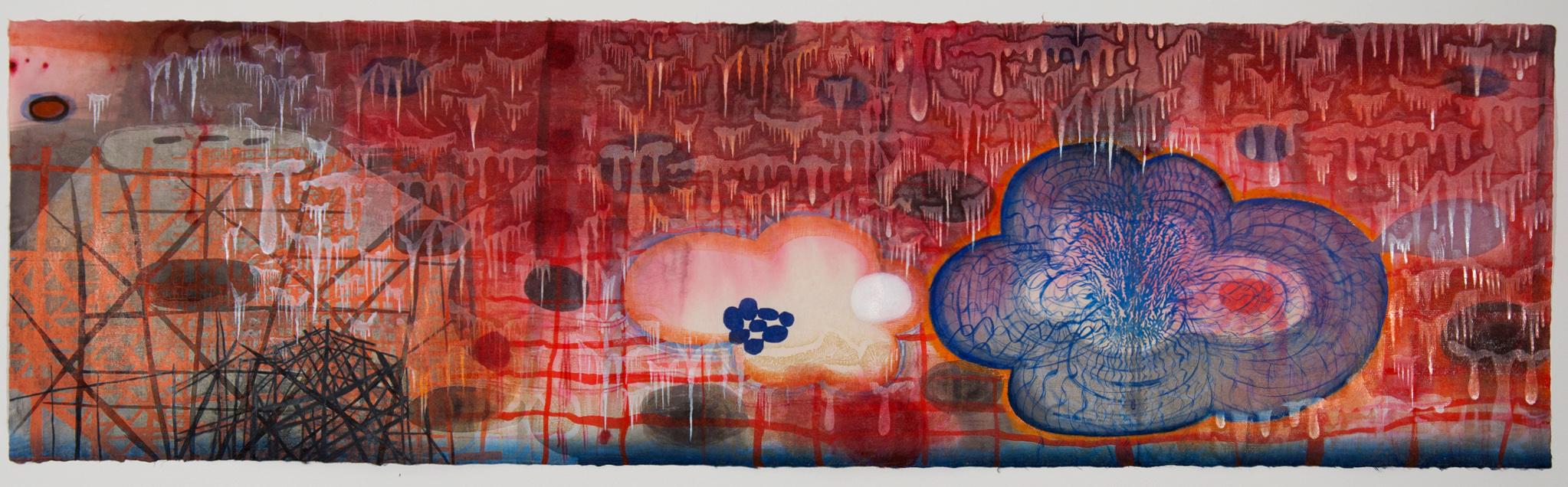 "Artwork by Karen Kunc: ""Red Tide,"" 2010, woodcut, polymer relief, mixed media, 1"