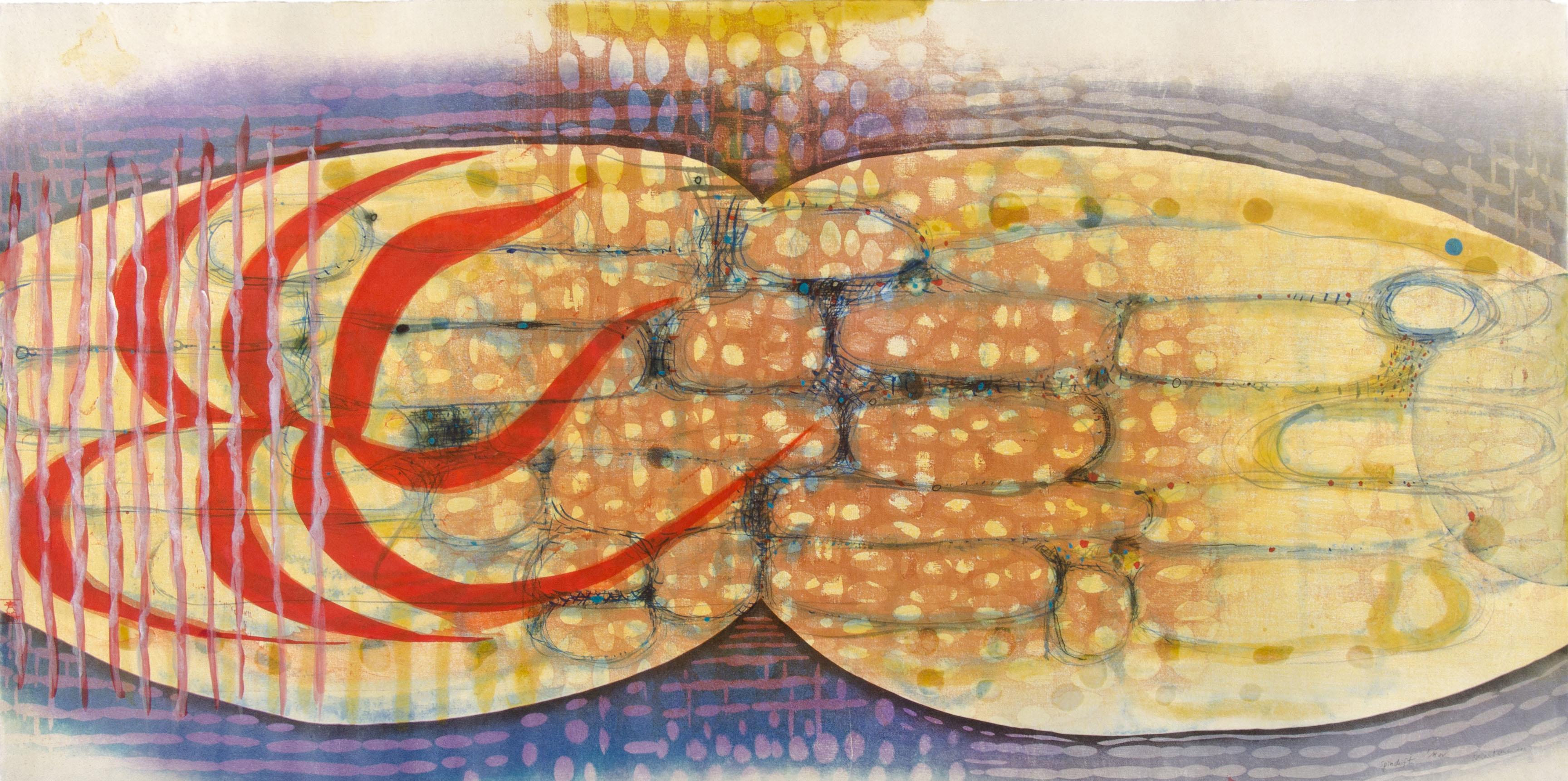 "Artwork by Karen Kunc: ""Spindrift,"" 2011, woodcut, mokuhanga woodblock"