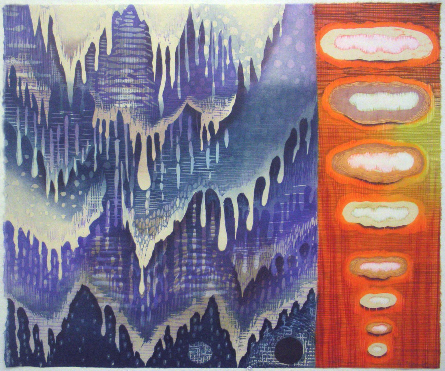 "Artwork by Karen Kunc: ""Water & Smoke,"" 2011, woodcut, 23"" x 28"""