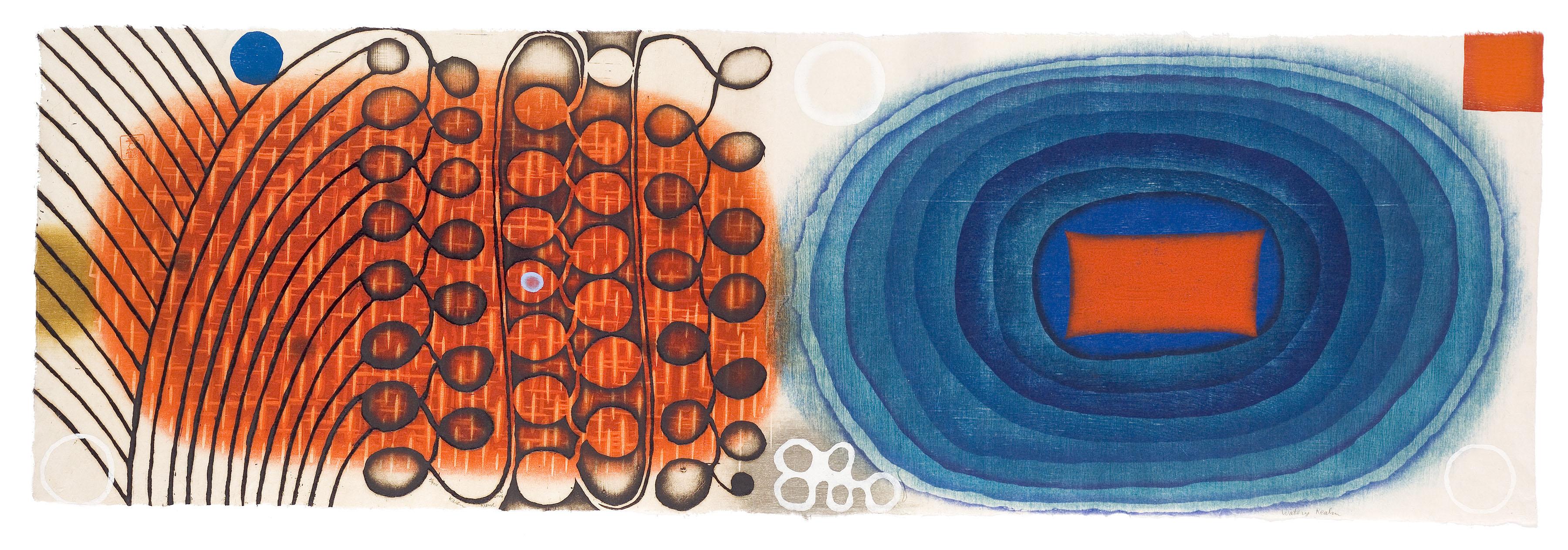 "Artwork by Karen Kunc: ""Watery Realm,"" 2006, woodcut & etching, 11.5"" x 36"""