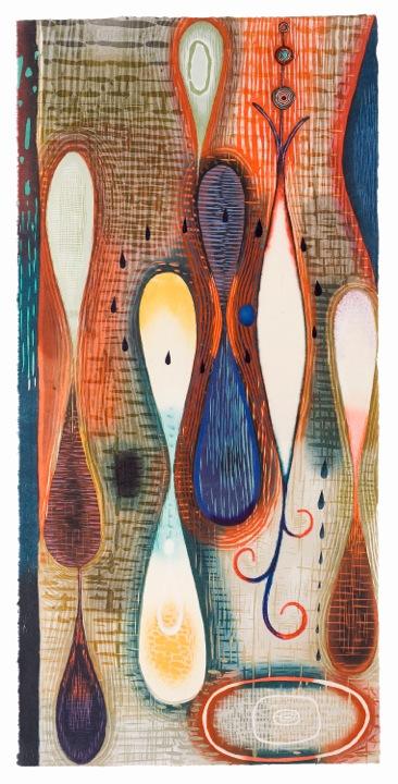 "Artwork by Karen Kunc: ""Welling Rain,"" 2003, woodcut, 42"" x 20"""