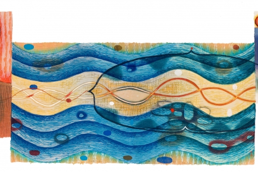 "Artwork by Karen Kunc: ""Braided Waters,"" 2002, woodcut on shaped paper, 18"" x 48"