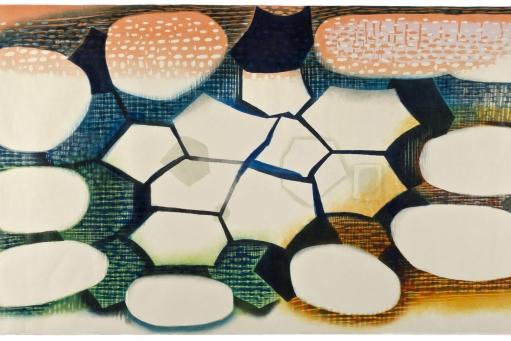 "Artwork by Karen Kunc: ""Whelming Waters,"" 2011, woodcut, 39"" x 72"""