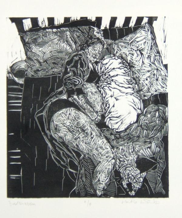 """Bedridden, Linocut, 14""""x11"""", 2002"""