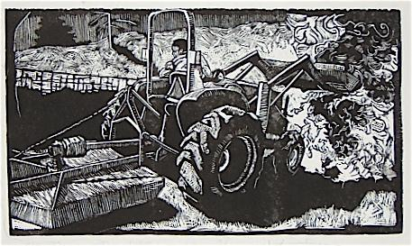 "Cleaning with Fire, Linocut 11""x17"", 2006"