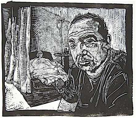 "Grief (mark), Linocut, 12""x14"", 2006"
