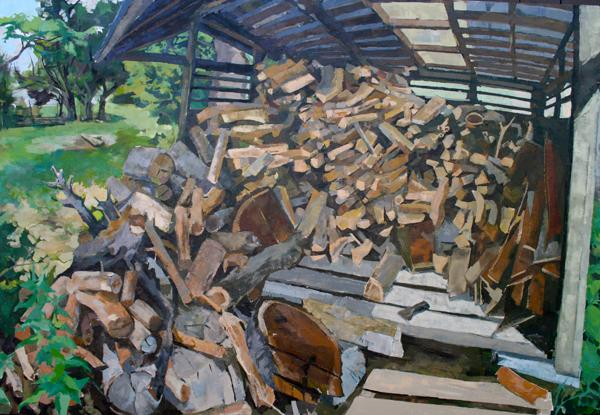 "Log Den, Oil on Canvas, 40""x60"", 2009"